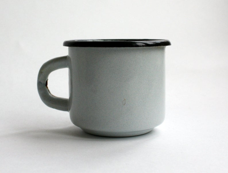 Vintage white enamel mug  White mug 200 ml (6,7 fl oz)