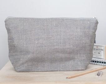 Grey Linen Large Makeup Bag, Large Cosmetic Bag, Canvas Cosmetic Bag, Travel Bag, Zipper Pouch, Canvas Makeup Bag, Canvas Toiletry Bag Women