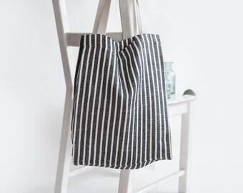 ae327187625e4 Striped Tote, Striped Tote Bag, Linen Canvas Tote, Linen Tote Bag, Grocery  Bags Reusable, Shopping Bag, Reusable Grocery Bag, Yoga Tote Bag
