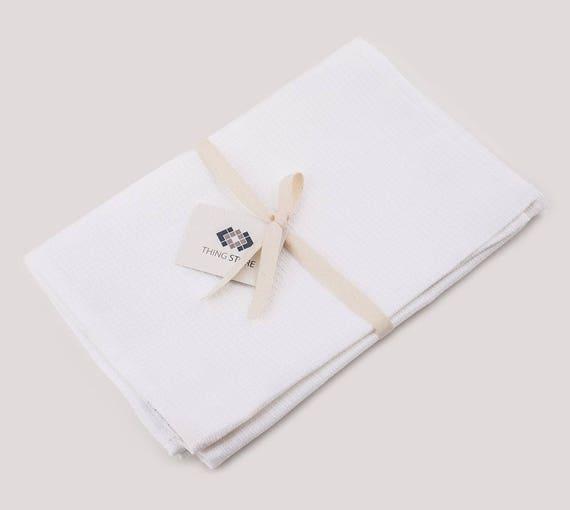 White Waffle Tea Towel Set Of 2 Linen Face Towel Hand Towel Small Towel Kitchen Towels Linen Hand Towels Linen Tea Towels Waffle Towel