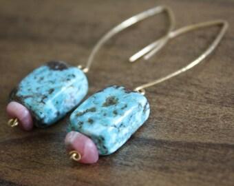 turquoise earrings dangle earrings almond earrings hand hammered earrings unique earrings boho earrings delicate earrings earthy earrings