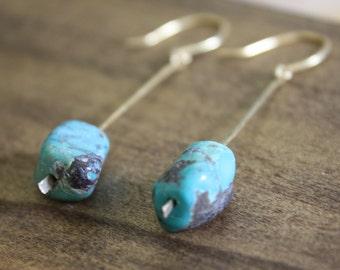 turquoise earrings dangle earrings hand hammered earrings unique earrings boho earrings delicate earrings earthy earrings natural earrings
