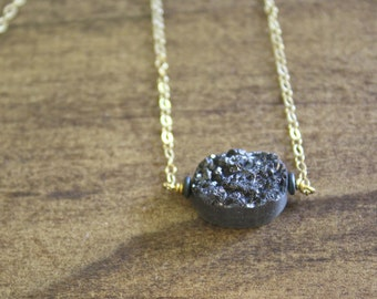 black druzy pendant necklace black crystal druzy necklace gold druzy silver druzy gold necklace silver necklace boho necklace gift for her