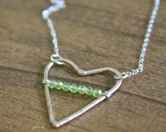 hand hammered delicate necklace heart pendant necklace peridot necklace heart necklace long necklace august birthstone earthy necklace