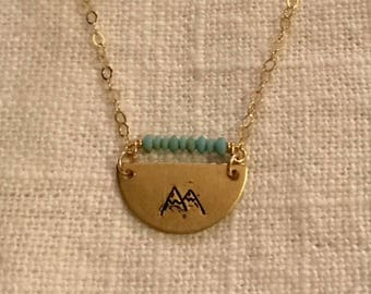 Half Moon Stamped Mountain Necklace