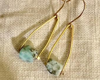 Amazonite Nugget Wishbone Earrings