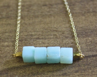 amazonite cube bar necklace amazonite necklace cube beads simple necklace blue necklace everyday necklace unique necklace gift for her