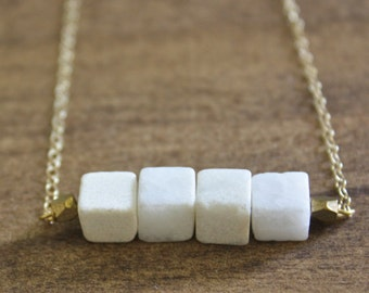 white cube bar necklace white necklace cube beads simple necklace everyday necklace unique necklace gift for her boho necklace boho jewelry