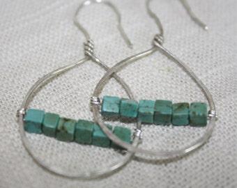 turquoise earrings teardrop earrings boho earrings unique earrings hand hammered silver earrings delicate earrings everyday earrings