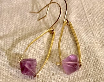 Fluorite Wishbone Earrings