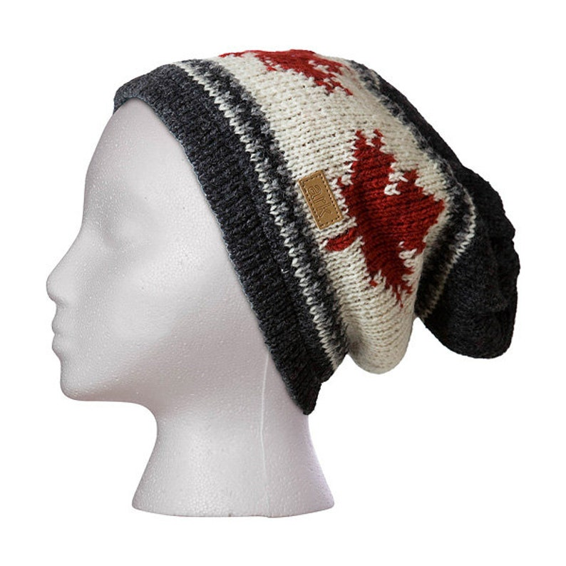 Charcoal Slouch Beanie Maple leaf Hat Toque Fleece Lined  72d0eeb7836