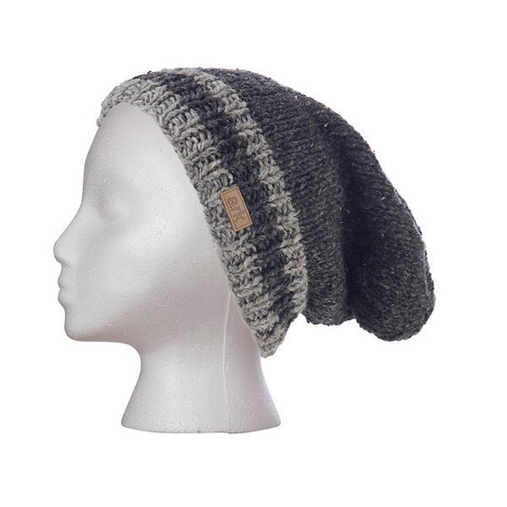 Charcoal Power Slouch Hat beanie toque knit hat hand knit  61f50d2cb9a