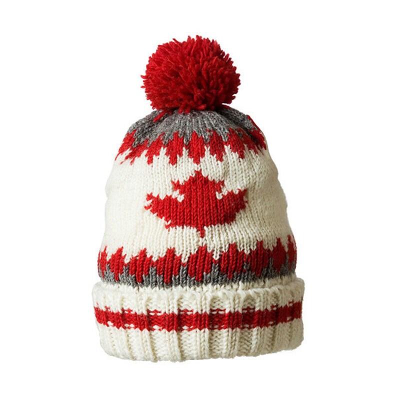 6cff79a23 Wool winter Pom Pom hat, Zig zag fleece Hat, Wool beanie, Fleece Lined  White Maple 730