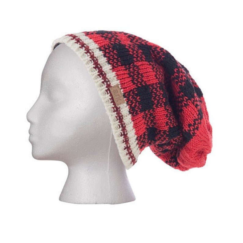 cea881a9b Wool Checker Slouch Beanie, Hat, Toque, Fleece Lined