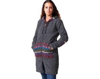 Ladies Wool Jacket, Long Sweater, Womens wool Coat, Hoodie, Cardigan, Fleece Lined