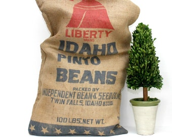 Burlap Pinto Beans Sack, Farmhouse Style Home Decor, 4th of July Decor
