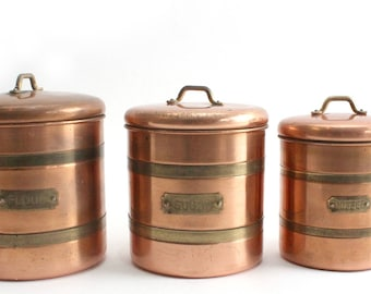 Copper Kitchen Canisters, Vintage Kitchen Ware, Rustic Home Decor