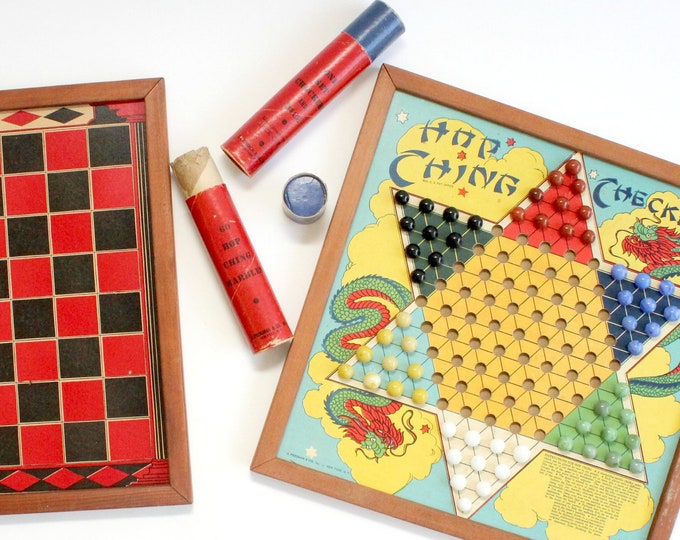 Featured listing image: Vintage Board Game Assortment, Checkers, Backgammon, Hop-Ching Chinese Checkers, Michigan Pool