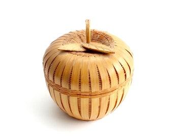 Vintage Apple Shaped Basket Container, Decorative Woven Basket Bowl