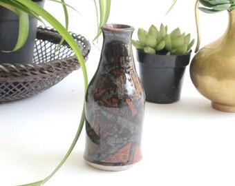 Vintage Stoneware Bud Vase, Glazed Stoneware Bottle