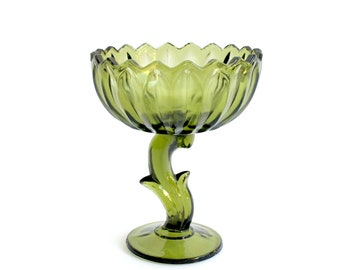 1970s Green Glass Lotus Blossom Bowl, Flower Shaped Pedestal Candy Dish, Vintage Home Decor
