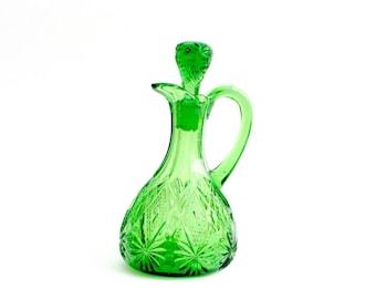 Crystal Cruet, Green Glass Cruet