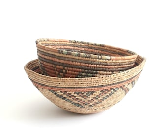 Vintage Native American Inspired Baskets, Hand Woven and Coiled Baskets, Bohemian Style Decor