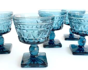 Vintage Blue Glassware, Ice Cream Bowls, Pedestal Cups