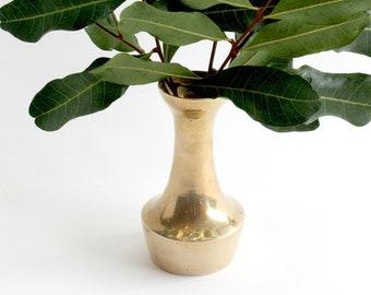 Vintage Brass Bud Vase, Mid Century Solid Brass Home Decor