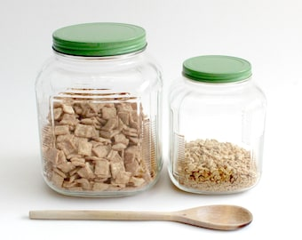 Vintage Glass Kitchen Canisters, Food Storage, Cereal Containers