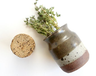 Vintage Stoneware Spice Jar, Ceramic Jar With Sealing Cork Top