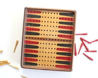 Vintage Backgammon Board, Travel Sized Backgammon, Pegboard Backgammon
