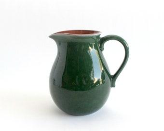 Green Ceramic Water Pitcher, Vintage Servingware, Vase