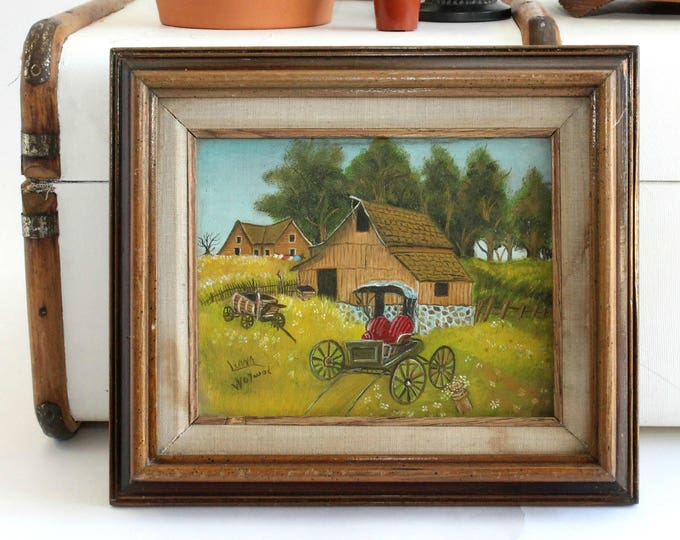 Featured listing image: Acrylic On Canvas, Farmhouse & Carriage Scene, Framed Artwork