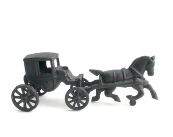 Vintage Cast Iron Horse & Chariot Figurine, Horse and Carriage Model Toy