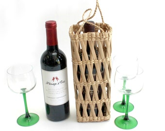 Woven Straw Wine Bottle Gift Bag