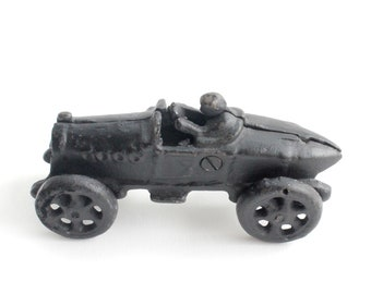 Vintage Cast Iron Race Car Figurine, Miniature Soapbox Race Car Toy