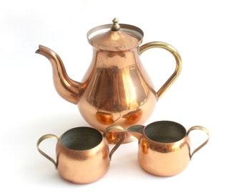 Vintage Copper Tea Set, Teapot, Creamer & Sugar Dish