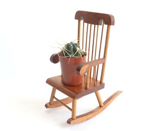 Miniature Wood Rocking Chair, Vintage Doll House Furniture