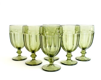 Vintage Green Glassware, Set of 6 Green Glass Water Goblets, Drinking Glasses/Tumblers