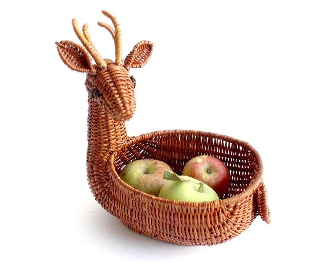 Featured listing image: Woven Reindeer Basket, Vintage Christmas Decor