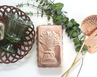 Vintage Copper Mold, Rectangular Mold With Wheat Design, Kitchen Wall Decor