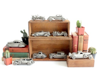 Vintage Pewter Car Figurines, Automobile Collectible Figurines