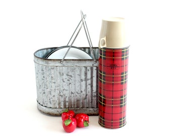 Vintage Red & Black Plaid Thermos, 1973 King Seeley Thermos