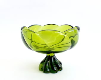 Green Glass Candy Dish, Mid Century Glass Bowl