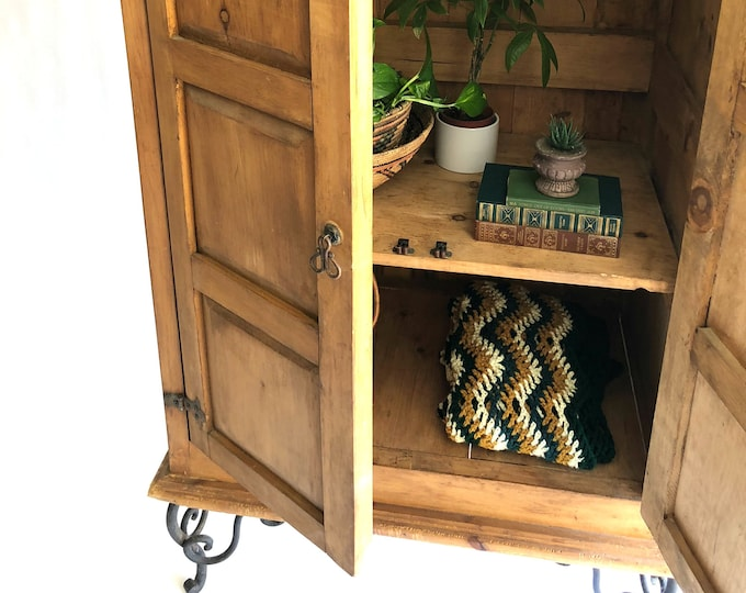 Featured listing image: Rustic Pine Wood Storage Cabinet, Vintage Handmade Furniture