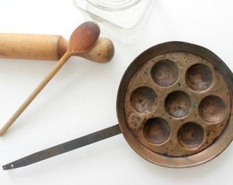 Antique Copper Ebelskiver Pan, Rustic Kitchen Decor