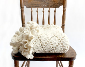 Hand Knit Wool Blanket, Cream Colored Throw Blanket