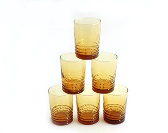 Orange Juice Glasses, Yellow Glass Tumblers, Set of 6 Water Glasses