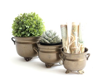 Brass planters, Set of 3 Small Indoor Plant Holders